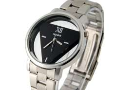 Wilon Men and Women Stainless Steel Watches with Triangle-Shaped Dail Plate (Black) M.
