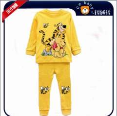 Children Long Sleeve Tiger & Teddy Cotton Yellow Pajamas #XC-200\ Wholesale & Retail