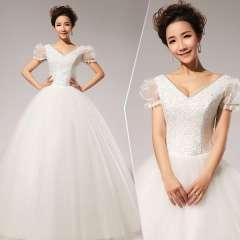 New arrival 2013 royal embroidered puff sleeve short-sleeve lace bride wedding dress formal Free Shipping