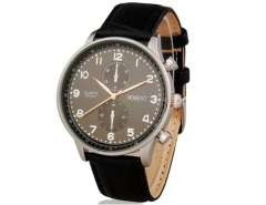 Moment 8010 Men's Water Resistant Analog Watch with Faux Leather Strap (Black) M.