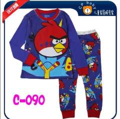 Children Long Sleeve Angry Birds Pajamas # Xc - 090 \ Child Clothering Settings Of The Highest Quality\wholesale And Retail