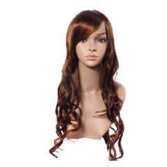 Light brown synthetic oblique bangs long hair 72cm