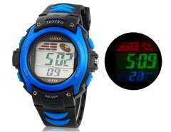 Water Resistant Digital Watch with Plastic Strap (Blue) M.