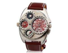 Men's Two-dial Quartz Analog Sports Watch with Thermometer & Compass (Brown) M.