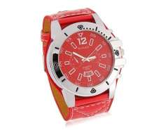 WoMaGe 9332 Stylish Analog Watch with PU Leather Strap (Red) M.