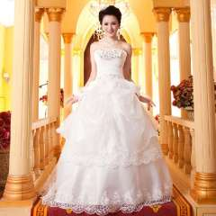 2013 new arrival wedding dress formal dress princess tube top bride lace strap style wedding dress