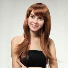 Synthetic wig | oblique bangs repair face long hair lady | gold | wig