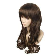 Brown synthetic oblique bangs long hair 72cm