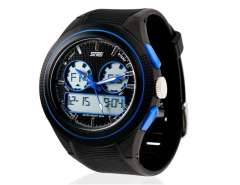 Skmei 0957 3ATM Water Resistant Analog & Digital Sports Watch with Soft Plastic Strap (Blue) M.