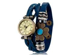E-LY E025 Women's Flower Decoration Round Dial Analog Watch (Blue) M.