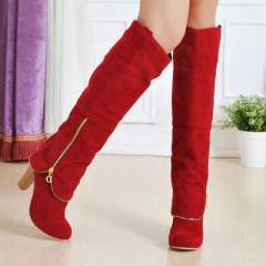 2013 women's fashion nubuck leather coarse high-heeled boots zipper high-leg autumn and winter cotton-padded knee-high boots