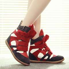 2013 hot selling velcro color block decoration elevator high-top sneaker shoes female height increasing casual ankle boots
