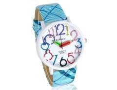 WoMaGe 9329 Pencil Hand Women's Round Case Leather Strap Watch (Blue) M.