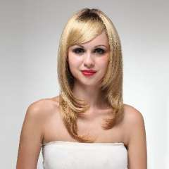 Yellow flax fiber oblique bangs and long straight hair 68cm