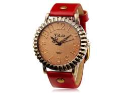 VaLia 6548 Vintage Round Dial Analog Watch with Faux Leather Strap (Red) M.