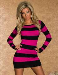 New fashion women's black and red stripes stitching dress round neck long-sleeved dresses