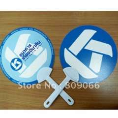 17*17CM Round Promotion plastic handle Fan with silk imprint logo or UV offset Logo