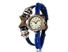 E009 Women's Round Dial Analog Display Wrist Watch with Crystal Decoration and Butterfly Leather Strap (Blue) M.