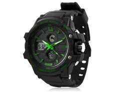 Skmei 0990 3ATM Water Resistant Digital & Analog Sports Watch with Soft Plastic Strap (Black + Green) M.