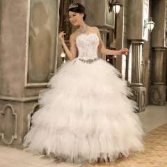 The bride wedding dress formal dress 2013 tube top bandage feather 82282