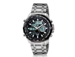 091B Men's Round Dial Dual Movement Analog & Digital Watch with Alarm, Backlight & Date Display (Black) M.