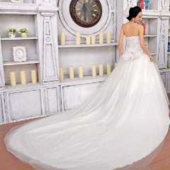 Urged bride wedding formal dress princess wedding dress train tube top wedding dress sweet wedding dress 845