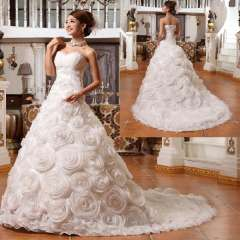 Tube top sweet princess bride married fashion luxury royal short trailing wedding dress