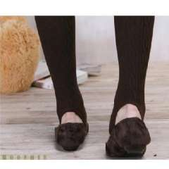 Korea Hot elastic twist rib thick colored knitted cotton socks step foot - brown ( 6212 )
