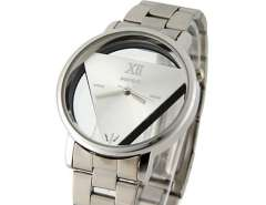 Wilon Men and Women Stainless Steel Watches with Triangle-Shaped Dail Plate (Silver) M.