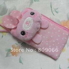 mobile phone accessories---PINK color animal patten Nolyn Plush mobile phone case OEM free logo cellphone pouch