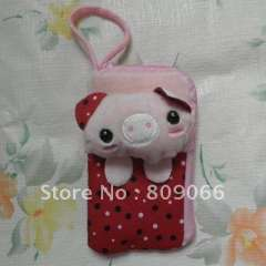 mobile phone accessories---red color animal patten Nolyn Plush mobile phone case OEM free logo cellphone pouch