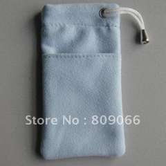 mobile phone accessories---silk imprint customized LOGO microfiber mobile phone bag OEM free logo cellphone case