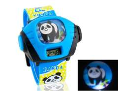 Children's Panda Pattern Digital Watch with Projector (Blue) M.