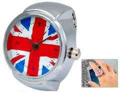 The Union Jack Quartz Movement Analog Finger Ring Watch with Copper Plated Alloy Strap (Silver) M.