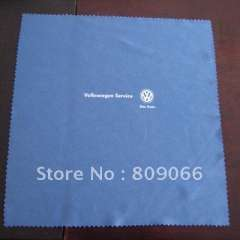 whole selling volkswagen microfiber glasses cleaning cloth with customized digital printing logo with Wave edge