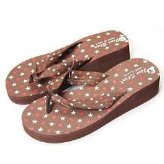 Leisure pentagram slope with flip-flops | Brown | 35码