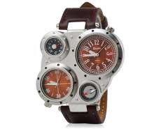 Dual Quartz Movement Analog Sporty Watch with Faux Leather Strap, Compass, Thermometer (Brown) M.