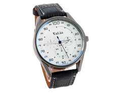 Faux Leather Band Men's Watch (Beige) M.