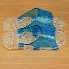 Pierced letters at the end crystal slip massage slippers - blue