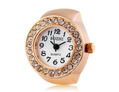 Women's Round Dial Alloy Analog Ring Watch (Brown) M.