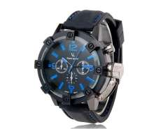 V0045 Men's Sport Wrist Watch with Metal Case, Plastic Band, Quartz Movement, Black & Blue Dial (Black and Blue) M.
