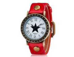 WOMAGE 523-9 Women's Star Print Round Dial Analog Watch (Red) M.
