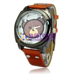 omen Watches Cute Soft PU Leather Band Bear Round Dial Quartz