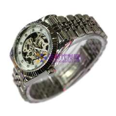 Luxury Hollow Dial Stainless Steel watchband wrist Automatic Mechanical Watch