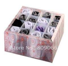 Eco-friendly multi-functional underware\sock\comestic transparent \frosty\diagonal PP storage boxes with cover and 16 holders