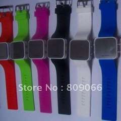 Brand New LED Watches Mirror Watch Alloy case and Silicone strap watch free shipping
