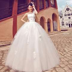Famous one shoulder sexy brief puff skirt sweet princess wedding dress 849