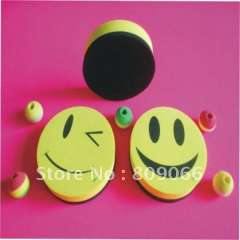smiley face board eraser with strong magnet