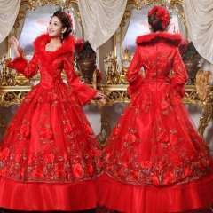2012 winter long-sleeve winter fur collar thickening wedding bridal red