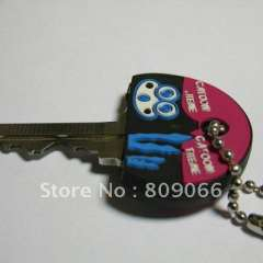 Soft pvc promotion customized key holder cover head with metal ring, key holder